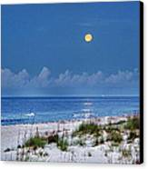 Moon Over Beach Canvas Print by Michael Thomas