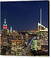 Moon Over Manhattan At Twilight Canvas Print by Lee Dos Santos