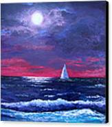 Moon Over Sunset Harbor Canvas Print by Amy Scholten
