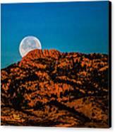 Moon Setting Behind Horsetooth Rock At Sunrise Canvas Print