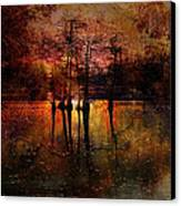 Moon Setting Over Reelfoot Lake Canvas Print by J Larry Walker