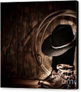 Moonlight Cowboy Canvas Print by Olivier Le Queinec