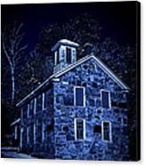Moonlight On The Old Stone Building  Canvas Print