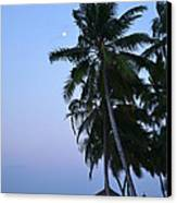 Moonrise In Maldives Canvas Print by Corinne Rhode