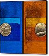 Moons On Blue And Gold Canvas Print