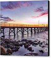 Moonta Bay Jetty Sunset Canvas Print by Shannon Rogers