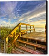Morning Beach Walk Canvas Print by Debra and Dave Vanderlaan