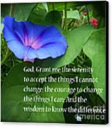 Morning Glory Serenity Prayer Canvas Print