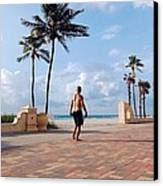 Morning Walk Along The Hollywood Beach Boardwalk Canvas Print by Shawn Lyte