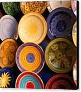 Moroccan Pottery On Display For Sale Canvas Print