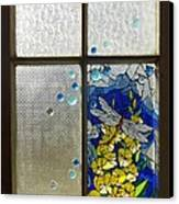 Mosaic Stained Glass - Dragonfly In The Window Canvas Print by Catherine Van Der Woerd
