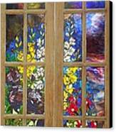 Mosaic Stained Glass - Flower Garden Canvas Print by Catherine Van Der Woerd