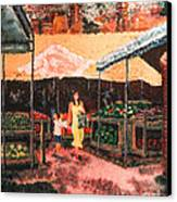 Mother And Child At The Farmer's Market Canvas Print