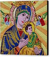 Mother And Child Hand Embroidery Canvas Print by To-Tam Gerwe