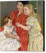 Mother And Sara Admiring The Baby Canvas Print by Marry Cassatt