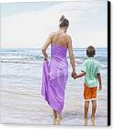 Mother And Son On Beach Canvas Print