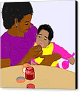 Mother Feeding Her Baby Canvas Print