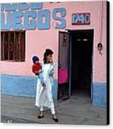 Mother Holding Child Waiting Canvas Print
