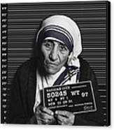 Mother Teresa Mug Shot Canvas Print by Tony Rubino