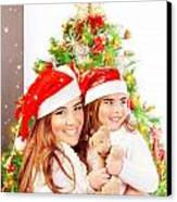 Mother With Daughter Celebrate Christmas Canvas Print by Anna Om