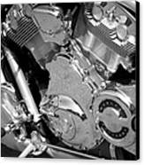 Motorcycle Close-up Bw 2 Canvas Print