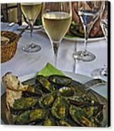 Moules And Chardonnay Canvas Print by Allen Sheffield