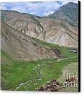 Mountain Landscape In The Tash Rabat Valley Of Kyrgyzstan Canvas Print by Robert Preston