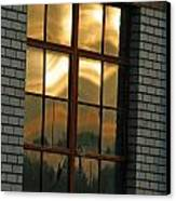 Mountains And Sun In Window Canvas Print