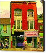 Mr Jordan Mediterranean Food Cafe Cabbagetown Restaurants Toronto Street Scene Paintings C Spandau Canvas Print by Carole Spandau
