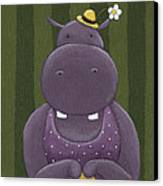 Mrs. Hippo Canvas Print by Christy Beckwith