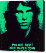 Mugshot Jim Morrison P128 Canvas Print by Wingsdomain Art and Photography