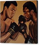 Muhammad Ali And Joe Frazier Canvas Print by Paul Meijering