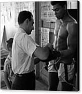 Muhammad Ali With Trainer Canvas Print
