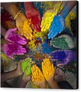 Multicoloured Hands Canvas Print by Tim Gainey