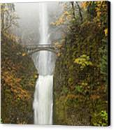 Multnomah Autumn Mist Canvas Print by Mike  Dawson