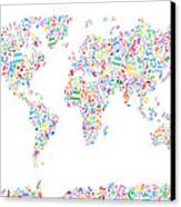 Music Notes Map Of The World Canvas Print by Michael Tompsett