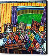 Mutts Quilting Canvas Print by Jay  Schmetz