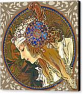 My Acrylic Painting As Interpretation Of Alphonse Mucha- Byzantine Head. The Blonde. Diagonal Frame. Canvas Print by Elena Yakubovich