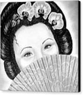 Mysterious - Geisha Girl With Orchids And Fan Canvas Print