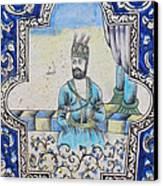 Nader Shah Qajar Ceramic Style Persian Art Canvas Print