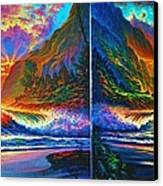 Napali Cliff's Sunset - Diptych Canvas Print by Joseph   Ruff