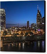 Nashville Tennessee With Pedestrian Bridge  Canvas Print by John McGraw