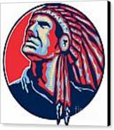 Native American Indian Chief Retro Canvas Print by Aloysius Patrimonio