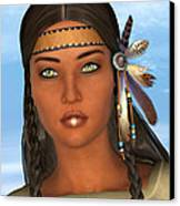 Native American Woman Canvas Print by Design Windmill