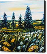 Nature Landscape Field Flowers Pines Art  Canvas Print by Drinka Mercep