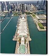 Navy Pier Chicago Aerial Canvas Print by Adam Romanowicz