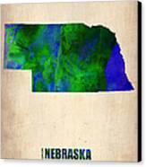 Nebraska Watercolor Map Canvas Print by Naxart Studio