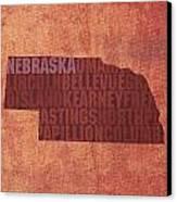 Nebraska Word Art State Map On Canvas Canvas Print by Design Turnpike