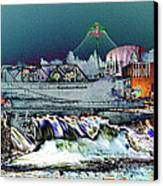 Neon Lights Of Spokane Falls Canvas Print by Carol Groenen