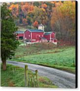 New England Farm Square Canvas Print